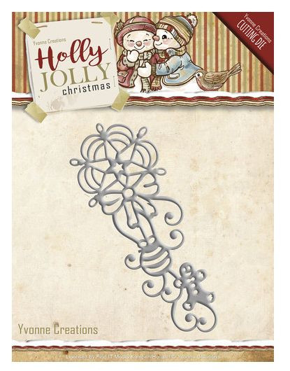 Yvonne Creations Holly Jolly Christmas Ornament Stanzschablone YCD10071