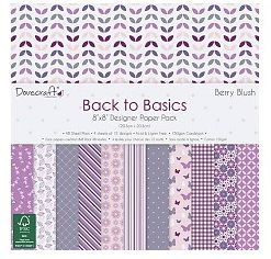 Dovecraft Back to Basics 8x8 Designer Papier Berry Blush DCPAP029