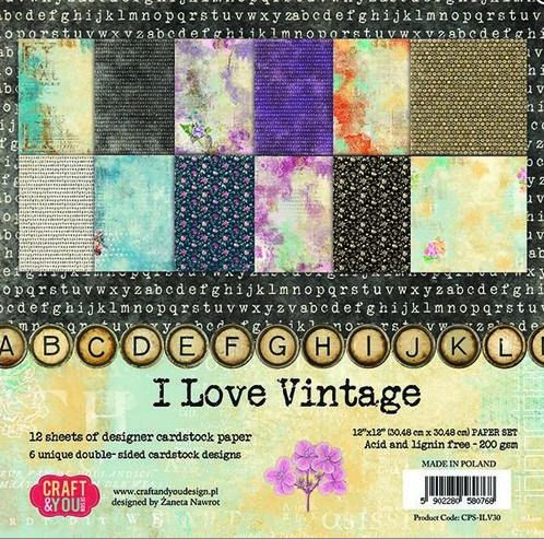 Craftandyou Design I Love Vintage Papier Set 12x12
