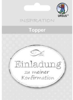 Ursus Topper weiß-silber Einladung zu meiner Konfirmation