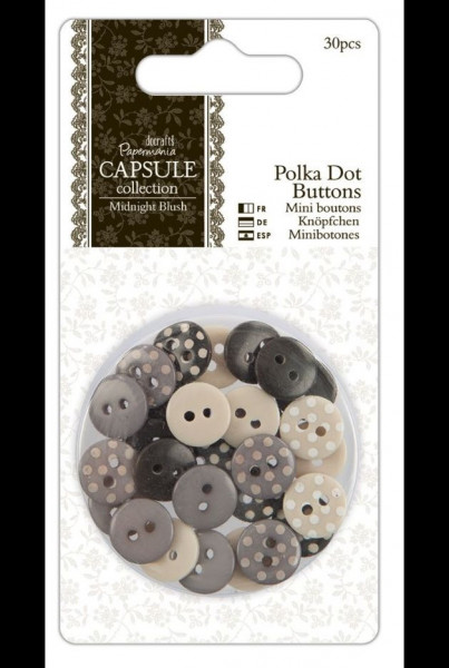 docrafts Papermania Capsule Midnight Blush Polka dot Buttons