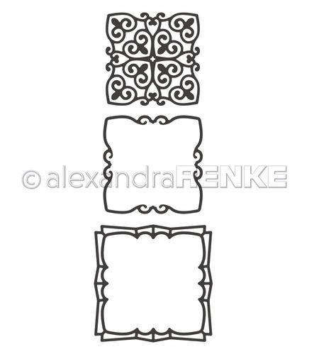 alexandraRENKE Stanzschablone Die 'Viereckiges Ornament'