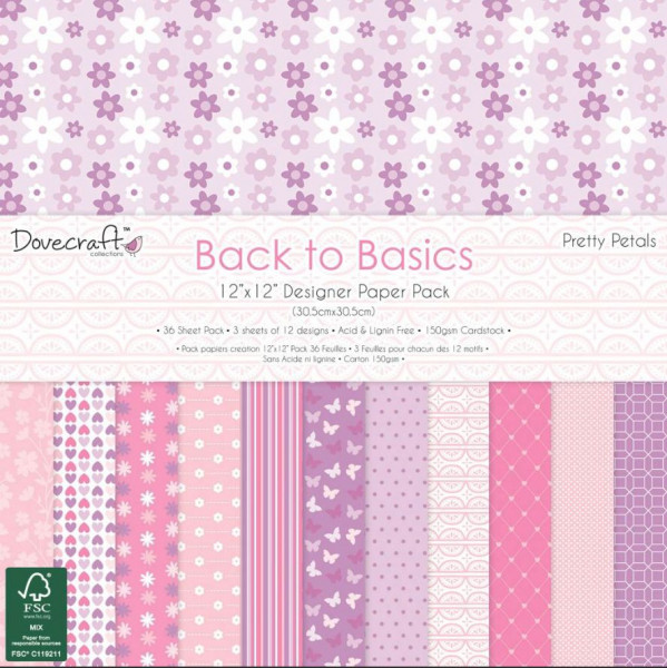 Dovecraft Back to Basics Pretty Petals 12x12 paper Pack